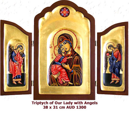 Triptych of Our Lady of Vladimir with Angels
